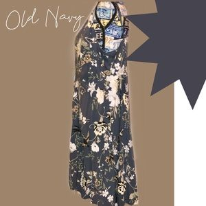 Grey Floral Butterfly Fit & Flare WORN 1X EUC